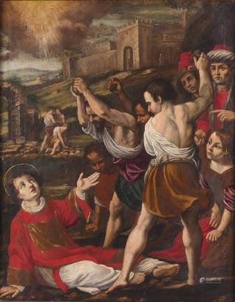 No signature, stoning of St. Stephen, oil on canvas, late 17thC-18thC, 58,5 x 76,5 cm (different parts repainted)