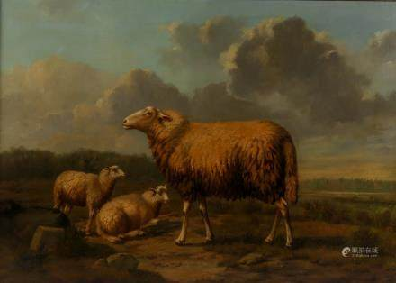 (Verboeckhoven E.), sheep in a landscape, oil on canvas pasted on panel, 58,5 x 82 cm