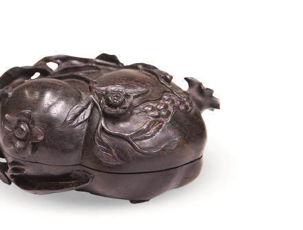 清紫檀石榴盖盒