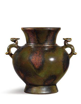A RARE BRONZE-IMITATION ARCHAISTIC HANDLED VASE  SEAL MARK AND PERIOD OF QIANLONG