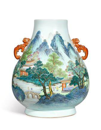 A FINELY PAINTED AND EXTREMELY RARE LARGE FAMILLE-ROSE 'LANDSCAPE' VASE, HU  SEAL MARK AND PERIOD OF QIANLONG