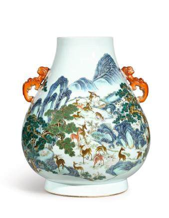 A FINE, MAGNIFICENT AND LARGE FAMILLE-ROSE 'HUNDRED DEER' VASE, HU  SEAL MARK AND PERIOD OF QIANLONG