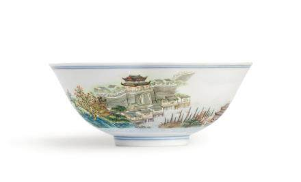 AN EXTREMELY RARE SET OF TEN FAMILLEROSE BOWLS WITH VIEWS OF JIANGXI SEAL MARKS AND PERIOD OF JIAQING