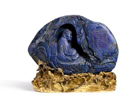 AN IMPERIALLY INSCRIBED LAPIS LAZULI 'BODHIDHARMA' BOULDER  QING DYNASTY, QIANLONG PERIOD