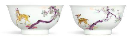 A RARE PAIR OF FAMILLE-ROSE 'DEER' BOWLS  MARKS AND PERIOD OF YONGZHENG
