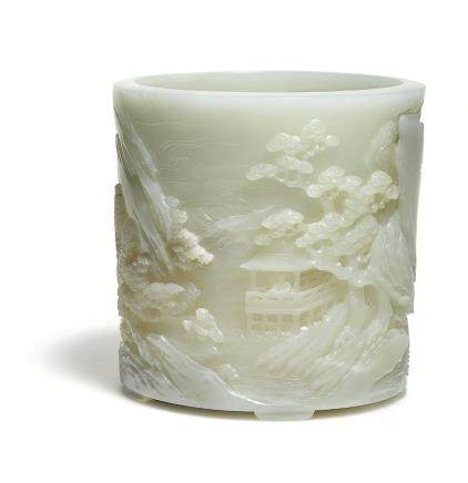 A SUPERB AND FINELY CARVED WHITE JADE 'XIYAN TU' BRUSHPOT  QING DYNASTY, QIANLONG PERIOD