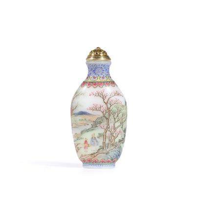 AN IMPERIAL ENAMELLED WHITE GLASS SNUFF BOTTLE  INCISED MARK AND PERIOD OF QIANLONG