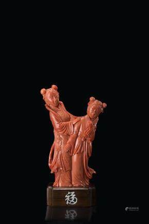 中國 二十世紀 珊瑚仕女雕件