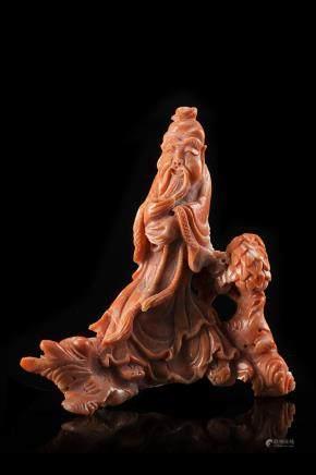 中國 二十世紀 珊瑚老者雕像