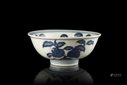 中國 二十世紀 嘉靖仿款 青花水果圖瓷碗