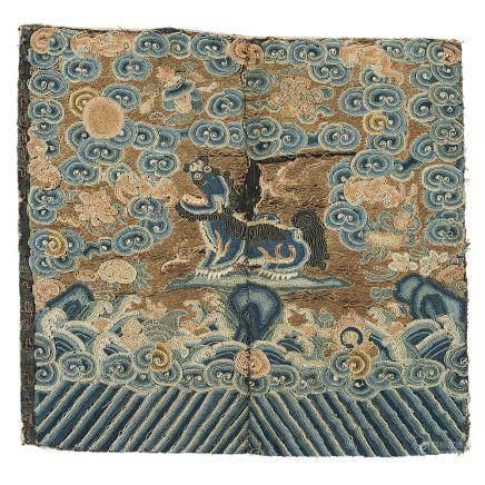 中國 十九世紀 絲綢獅紋軍服補子