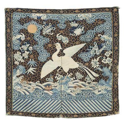 中國 十九世紀 絲綢孔雀紋軍服補子