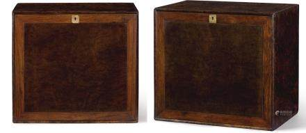 A PAIR OF BURL WOOD AND 'HUANGHUALI' CHESTS LATE MING – EARLY QING DYNASTY