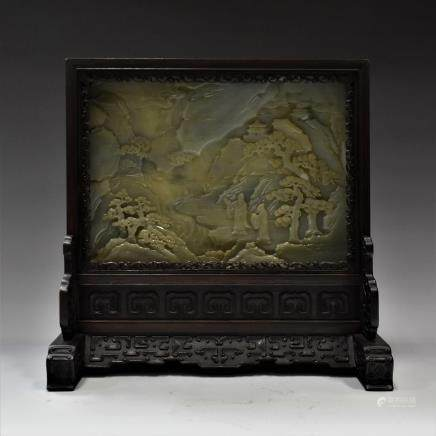 FRAMED CHINESE GRAYISH CELADON JADE TABLE SCREEN