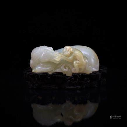 CHINESE JADE OF HORSE AND MONKEY