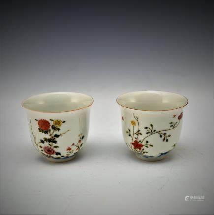 PAIR OF FAMILLER ROSE FLORAL WINE CUPS