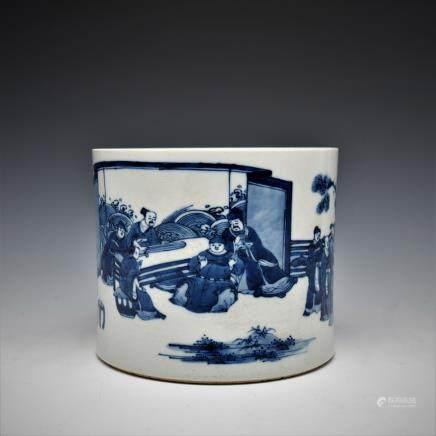 BLUE & WHITE PORCELAIN BRUSH POT