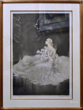 LOUIS ICART, LILLIES, COLOR ETCHING
