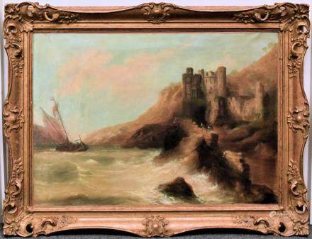 W.H. DAY, HARBOR SCENE, ANTIQUE OIL ON CANVAS