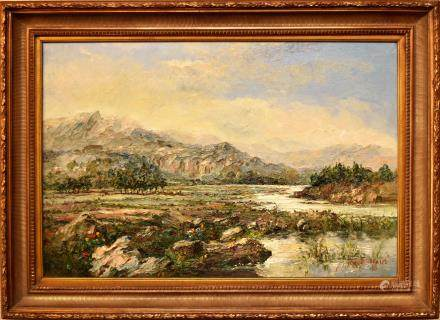 G. BASSANO, MOUNTAIN VIEW, OIL ON CANVAS
