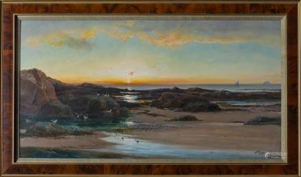 RICHARD HARRY CARTER 1839–1911, LOW TIDE AT SUNSET