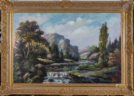 M.D. CHIN, MOUNTAIN STREAM, OIL ON CANVAS