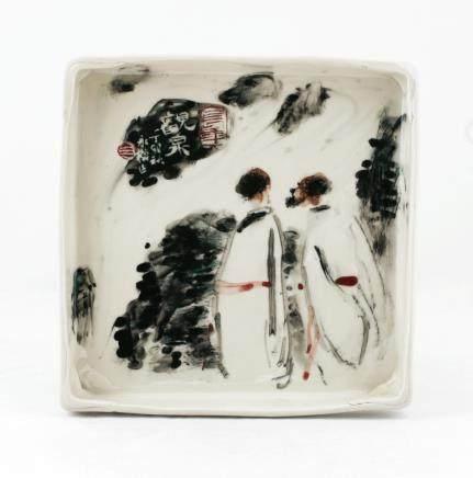 陈永模《观泉》瓷盘画