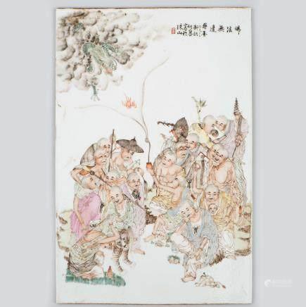 """""""Escena Mitológica"""" Placa China en porcelana esmaltada. Trabajo Chino, Pps. S. XX."""