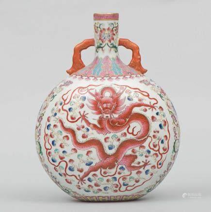 Cantimplora en porcelana China Fanilia rosa. Trabajo Chino, Finales del Siglo XIX-XX