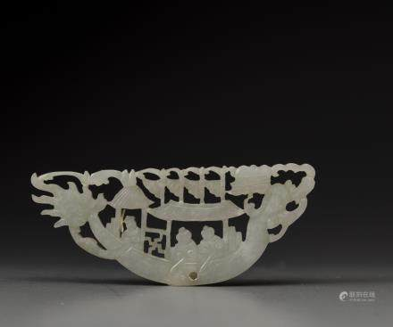 A white jade 'dragonboat' plaque