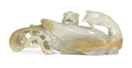 十七世紀 青白玉鳳凰式水盂配水滴