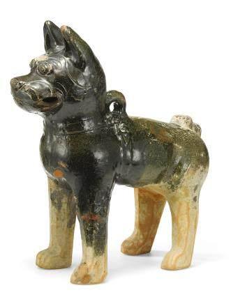 漢 綠彩陶犬