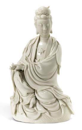 清十八世紀 德化白釉布袋佛立像