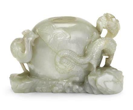 清十八世紀 青白玉龍鳳紋水盂