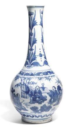 約1640年 青花高士賞遊圖長頸瓶