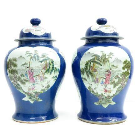 2 China Porcelain Famille Verte Decor Lidded Vases