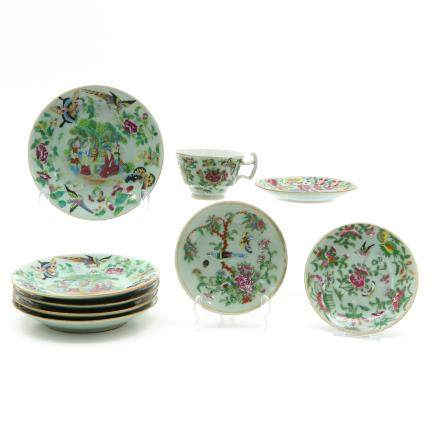 8 19th Century China Porcelain Saucers and 1 Cup