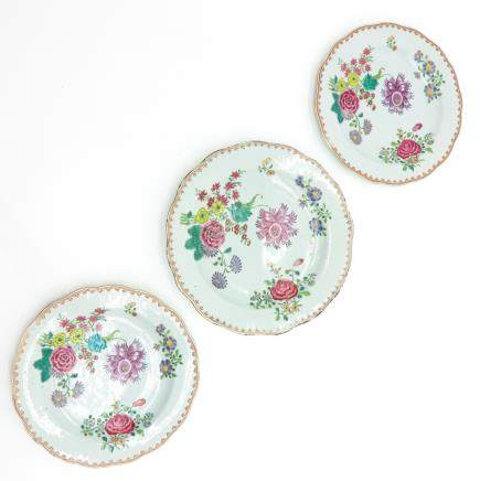 Lot of 3 18th Century Famille Rose Decor Plates