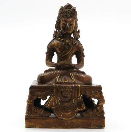 Amitayus Boeddha Sculpture Marked Qianlong
