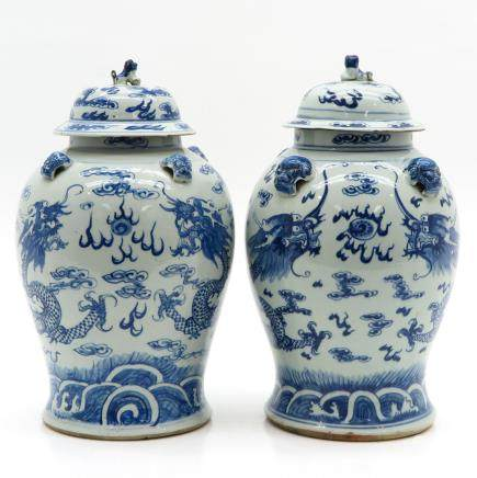 Lot of 19th Century China Porcelain Lidded Vases