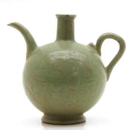 China Porcelain Celadon Crackleware Decor Pitcher