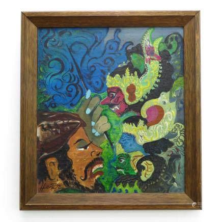 Signed Hendra Gunawan Indonesian Painting