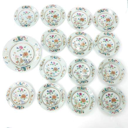 Lot of 15 China Porcelain Famille Rose Decor Plates