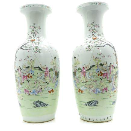 Pair of China Porcelain Capital Vases