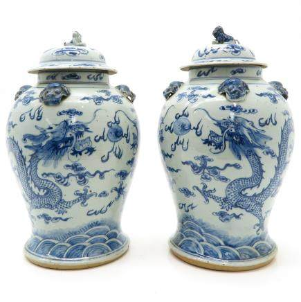 Pair of Lidded Vases