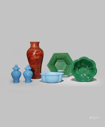 EIGHT CHINESE BEIJING GLASS ITEMS