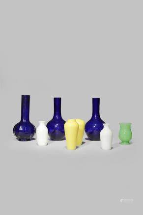 EIGHT CHINESE MONOCHROME BEIJING GLASS VASES