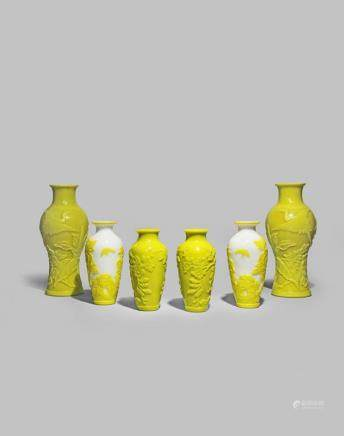THREE PAIRS OF CHINESE YELLOW BEIJING GLASS VASES