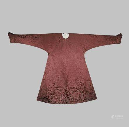 A CHINESE AUBERGINE COLOURED SILK COURT ROBE, JIFU