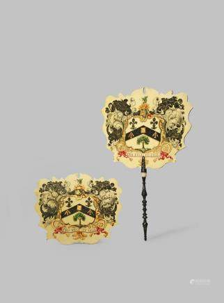 λ A PAIR OF CHINESE ARMORIAL FACE SCREENS